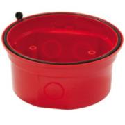 NOTIFIER-144 | Zócalo Estanco IP65 de color rojo para entrada de tubo visto con base incorporada para las gamas de dispositivo óptico acústicos Analógicos (sirenas y flashes direccionables).