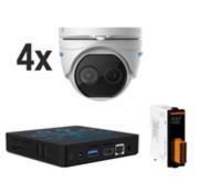 VIM-DUAL-KIT5 | Kit de Vaelsys termico compuesto por: 1x servidor de vídeo para instalaciones básicas SAM-4485, 4x cámara domo térmica + visible Thermal-Line HYU-659, 1x Módulo USB de 6 entradas/salidas de relé SAM-4147