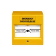 CONAC-705   Pulsante di estinzione giallo reiniziabile adeguato per porte di uscita di emergenza.