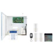 PAR-112F | Kit composé par: 1x Centrale PCBMG5050 hybride de 6 a 32 zones avec récepteur via Radio; 1x boîte avec transformateur; 1x Clavier K32LCD écran bleu 3x Infrarouge PMD2P via radio; 1x Télécommande REM15 via radio; 1x Batterie DEM-2
