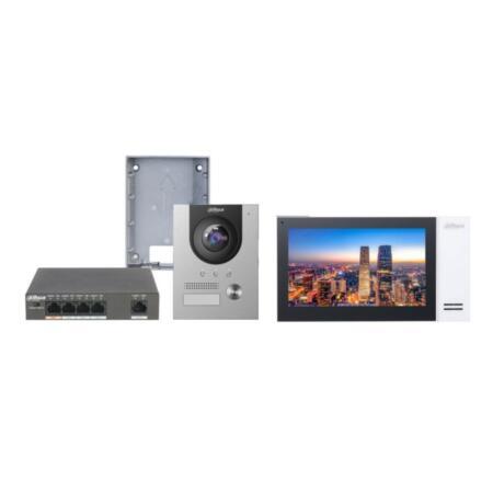 DAHUA-2095   Kit de videoportero IP compuesto por: x1 Estacion de videoportero 2 en 1: IP y 2 Hilos (no se pueden mezclar tecnologías) DAHUA-2029 (VTO2202F-P), x1 Caja de superficie DAHUA-2096 (VTM115), x1 Monitor IP SIP DAHUA-2031 (VTH2421FW-P), x1 Switch PoE DAHUA-1789 (PFS3005-4ET-60).