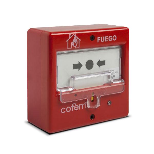 COFEM-18 | Pulsador manual de alarma rearmable microprocesado y autoidentificable con la central del sistema analógico de detección de incendios