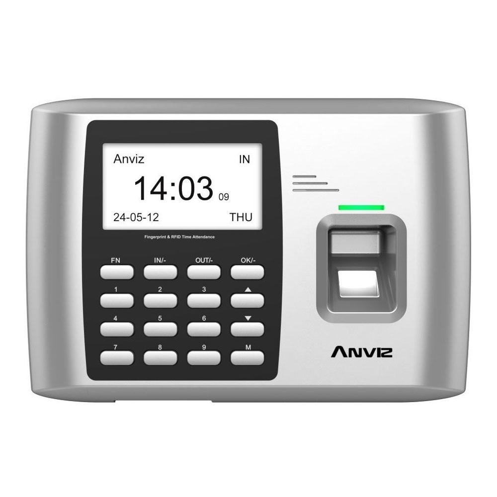 CONAC-656N   Terminal de control de acceso y presencia - Anviz. Identificación por tarjeta RFID EM 125KHz, huella dactilar, código usuario, contraseña numérica y/o combinaciones. 2000 huellas o tarjetas, 50000 registros. Huella, tarjeta, ID + huella, código + tarjeta, huella + tarjeta. TCP/IP, WiFi, Mini USB, USB Flash Drive. Módulo de salida de relé. 8 estados autodefinidos.