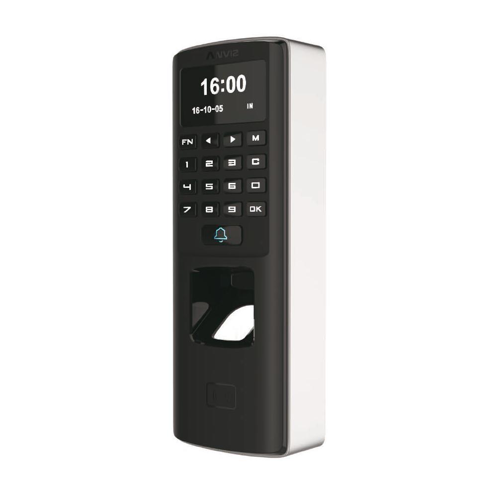CONAC-773   Lector biométrico autónomo de accesos y presencia Anviz. Identificación por tarjeta EM, huella dactilar, contraseña y/o combinaciones. Teclado táctil y pantalla OLED. 3000 huellas/tarjetas, 50.000 registros. 8 modos de control de presencia. Comunicación TCP/IP, RS485 y Wiegand 26. Controladora integrada (sensor puerta, pulsador y relé). Control de horarios, turnos y ciclos. Función Anti Pass-back. Soporta PoE. IP65, IK10. Software de gestión ANVIZ CrossChex incluido.