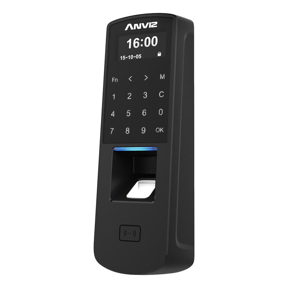 CONAC-774   Lector biométrico autónomo de accesos y presencia Anviz. Identificación por tarjeta Mifare, huella dactilar, contraseña y/o combinaciones. Teclado táctil y pantalla OLED. 3000 huellas/tarjetas, 50.000 registros. 8 modos de control de presencia. Comunicación TCP/IP, RS485, miniUSB y Wiegand 26. Controladora integrada (sensor puerta, pulsador y relé). Control de horarios, turnos y ciclos. Función Anti Pass-back. Soporta PoE. Software de gestión ANVIZ CrossChex incluido.