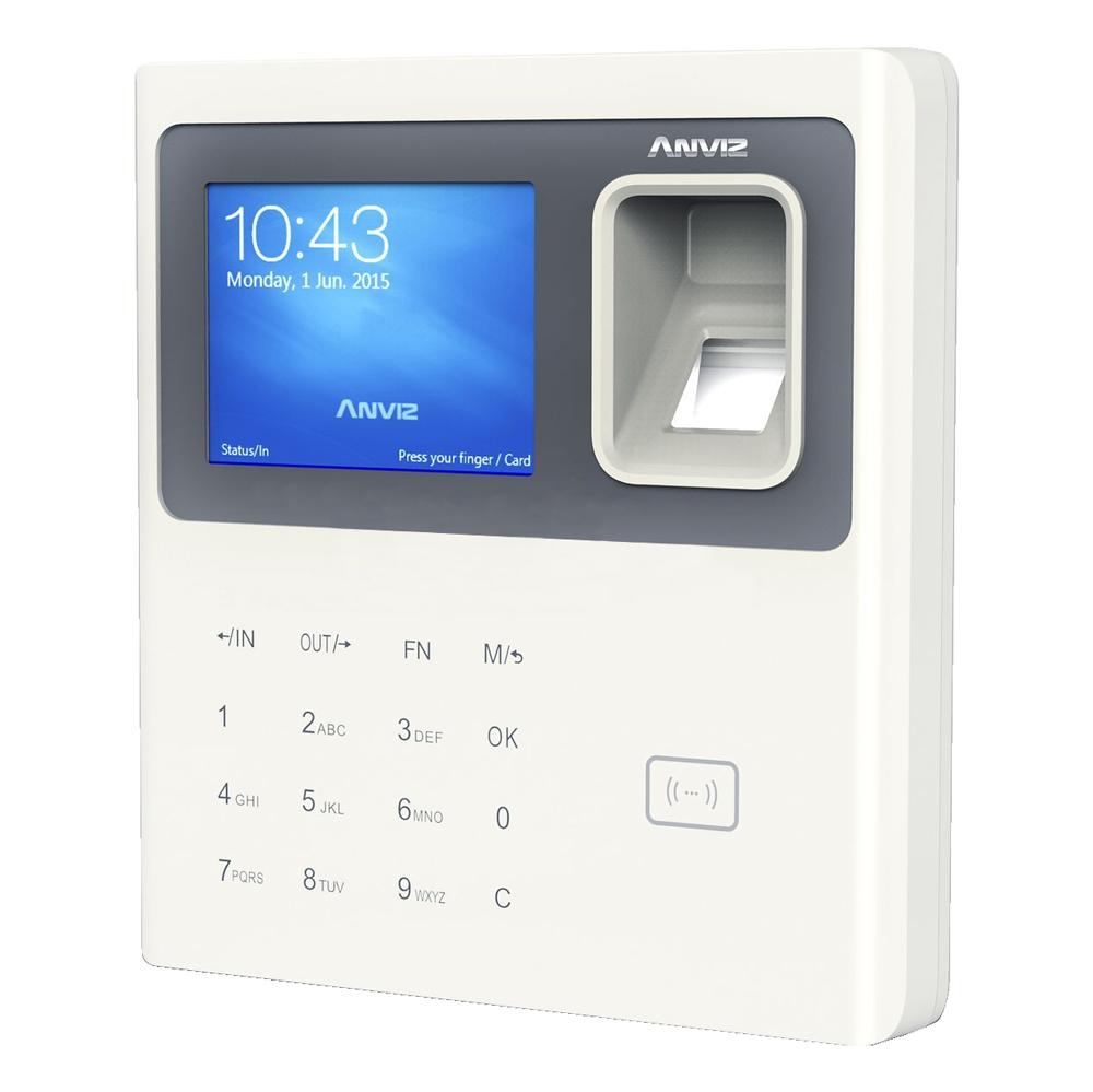 """CONAC-779   Lector biométrico autónomo de presencia Anviz. Identificación por tarjeta EM, huella dactilar, contraseña y/o combinaciones. Teclado y pantalla TFT color 2,8"""". 3.000 huellas/tarjetas y 100.000 registros. 8 modos de control de presencia personalizables. Control de horarios, turnos y ciclos. Indicaciones de voz para todas las operaciones. Comunicación TCP/IP, USB Flash. Mensajes personalizados. Software de gestión ANVIZ CrossChex incluido."""
