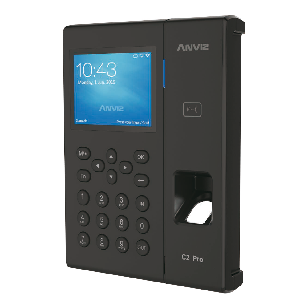 """CONAC-781   Lector biométrico autónomo de presencia. Identificación por tarjeta EM RFID, huella dactilar, contraseña y/o combinaciones. Teclado y pantalla TFT color 3,5"""". 5.000 huellas y/o tarjetas y 100.000 registros. 16 modos de control de presencia personalizables. Indicaciones de voz para todas las operaciones. Salida auxiliar para sirena. Comunicación TCP/IP, Mini USB, USB Flash. Salida Wiegand 26. Control de horarios, turnos y ciclos. Admite PoE/PoE+. Software de gestión ANVIZ CrossChex incluido."""