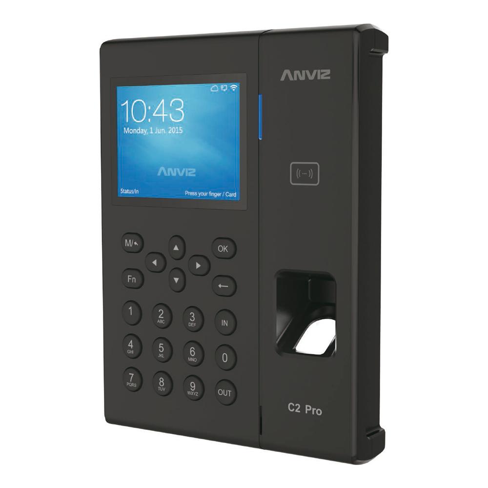 """CONAC-782   Lector biométrico autónomo de control de presencia Anviz. Identificación por tarjeta Mifare, huella dactilar, contraseña y/o combinaciones. Teclado y pantalla TFT color 3,5"""". 5.000 huellas y/o tarjetas y 100.000 registros. 16 modos de control de presencia personalizables. Indicaciones de voz para todas las operaciones. Salida sirena auxiliar. Comunicación TCP/IP, Mini USB, USB Flash. Salida Wiegand 26. Control de horarios, turnos y ciclos. Admite PoE/PoE+. Software de gestión ANVIZ CrossChex incluido."""