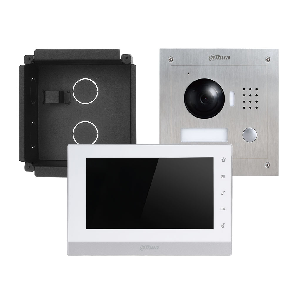 "DAHUA-683-FLUSH | Outdoor two-wire IP video intercom kit + recessed mounting box + 7 ""IP monitor + 2-wire converter + Power supply."
