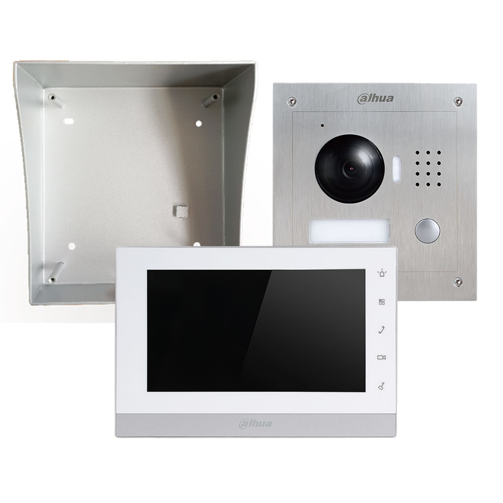 "DAHUA-683N | Outdoor 2-wire IP video intercom kit + surface mount box + 7"" IP monitor + 2-wire converter + Power supply"