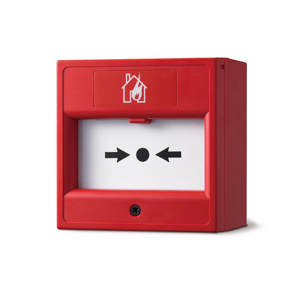 """FOC-219   Pulsante di allarme convenzionale tipo """"rompere vetro"""" in colore rosso incorporata in scatola convenzionale o superfice"""