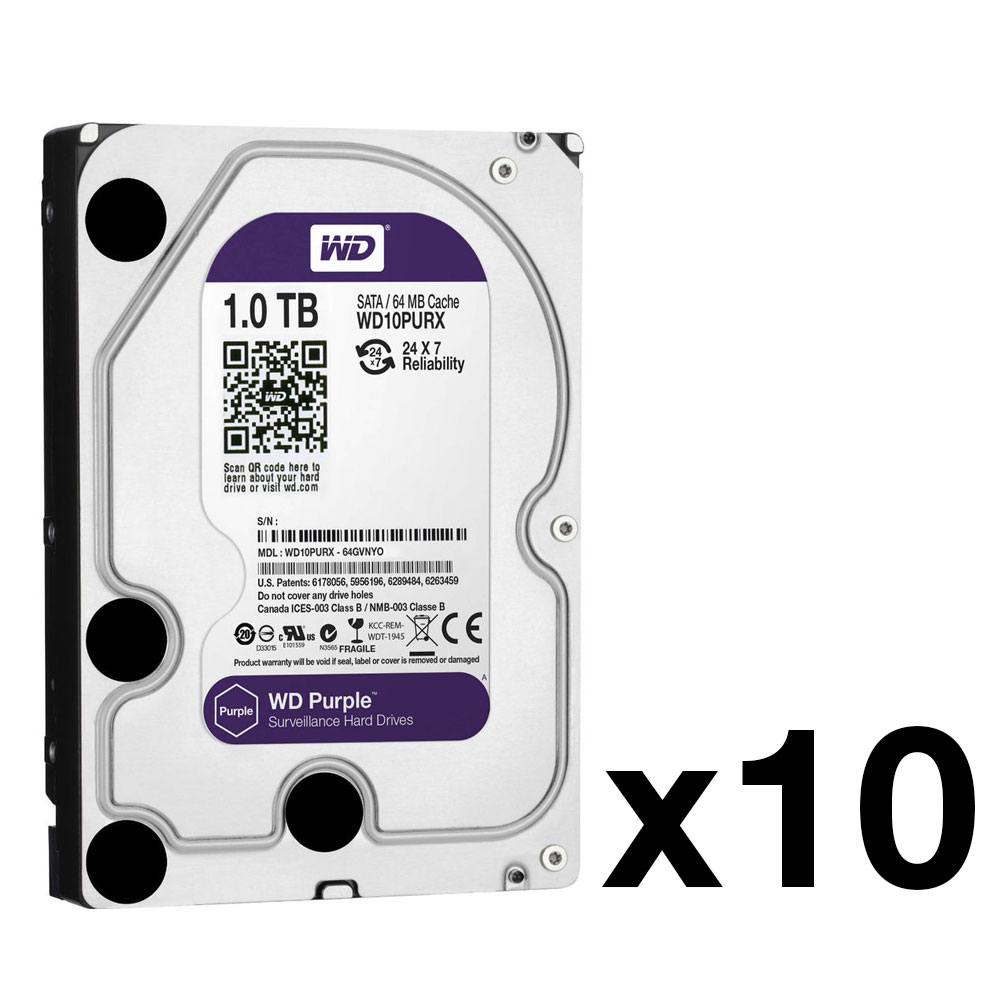 HDD-1-PACK10N | Pack of 10 HDD of 1TB (WD10PURX model), special for videosurveillance