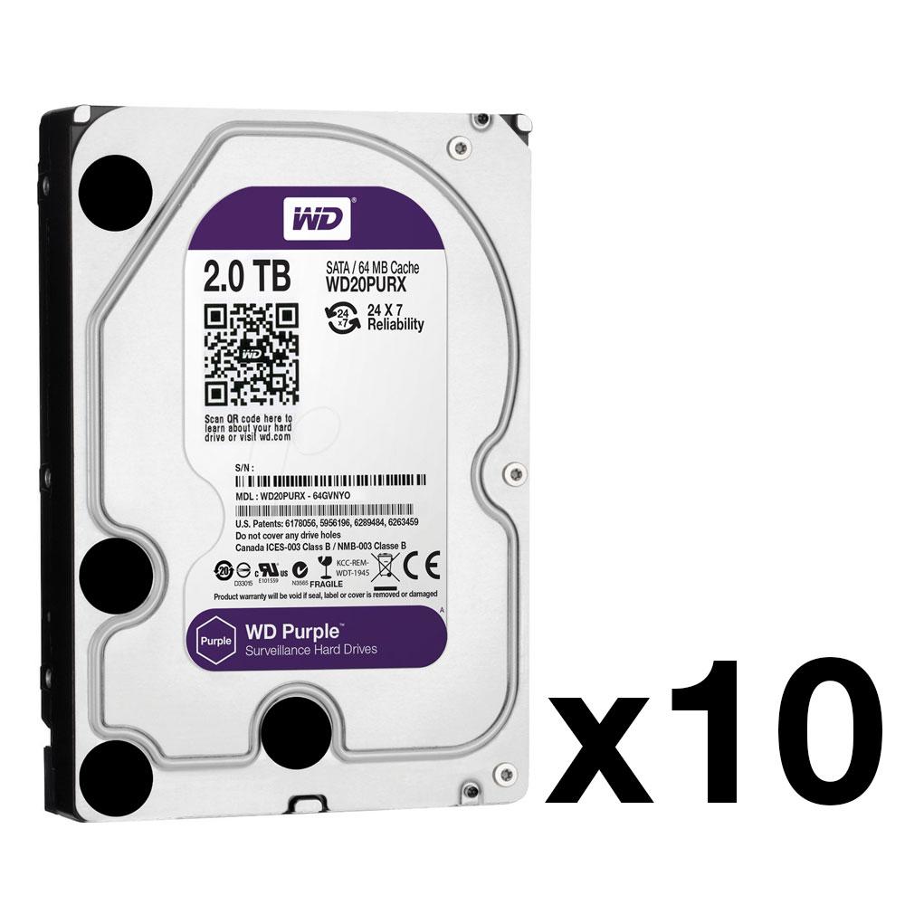 HDD-2-PACK10 | Pack de 10 disques durs avec capacité de 2 TB (modèle WD20PURX), spéciale pour enregistreurs vidéo