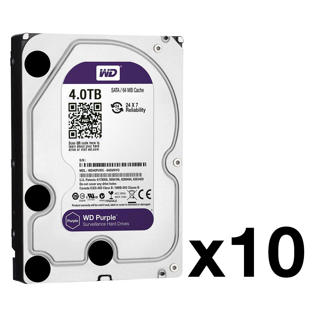 HDD-4TB-PACK10 | Pack of 10 Western Digital® Purple HDD of 4 TB