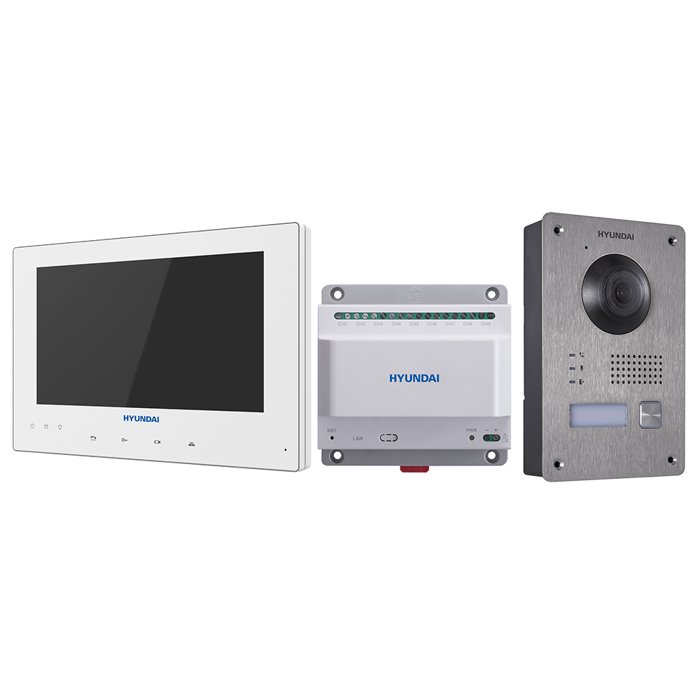"HYU-629 | Two-wire outdoor video door entry kit + 7 ""two-wire monitor + 2-wire power supply with 9-channel interface."