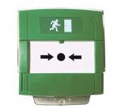 NOTIFIER-212 | Pulsador de evacuación por rotura de cristal con contacto NA o NC, de color verde para salidas de emergencia.