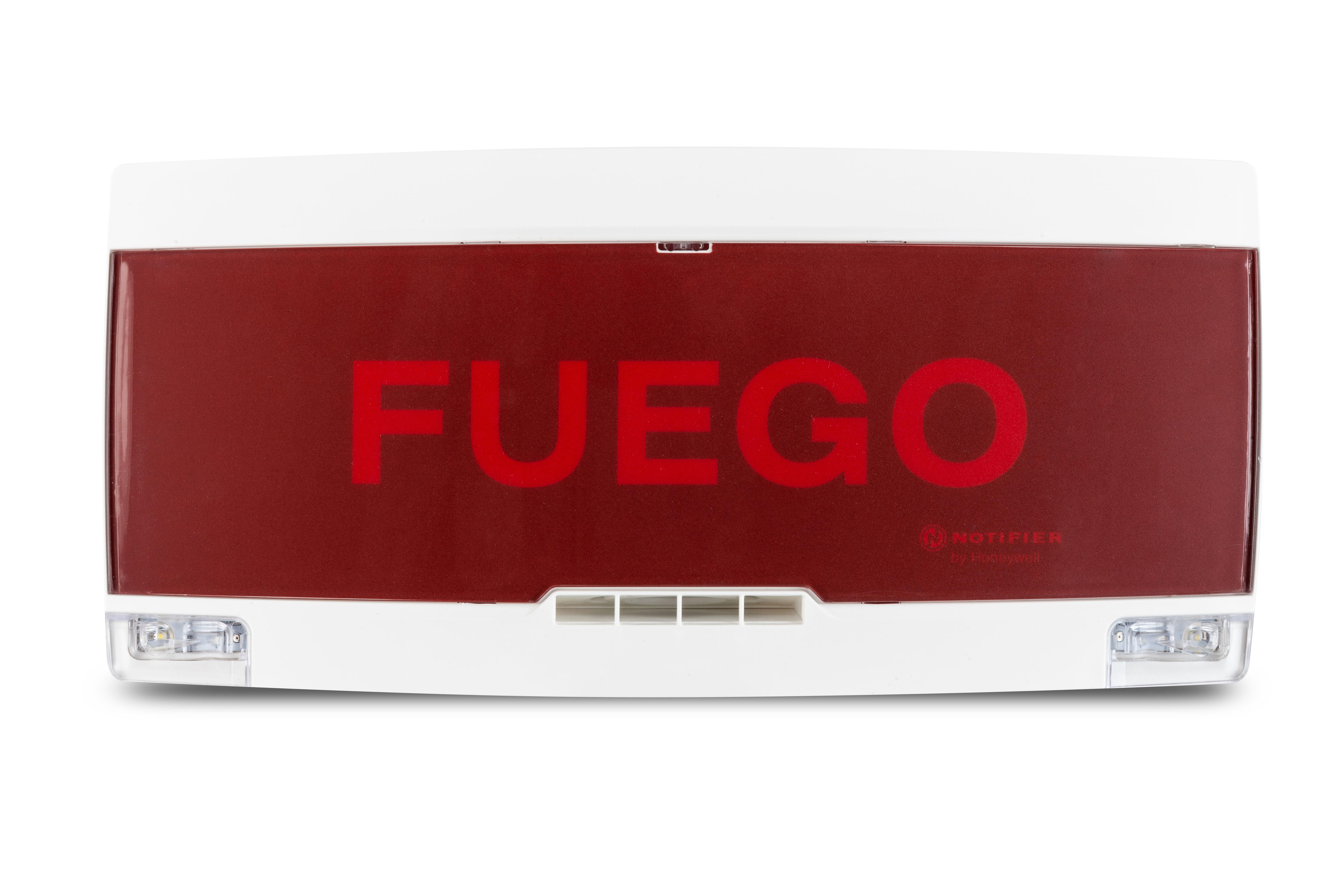 NOTIFIER-237 | Panel indicador convencional EN-54-3 y 23, exterior blanco con letrero y texto rojo.