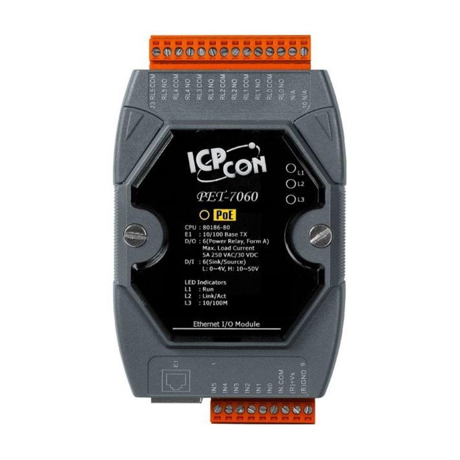 SAM-3160P | Módulo de entradas y salidas Ethernet con relé de 6 canales, entrada digital de 6 canales