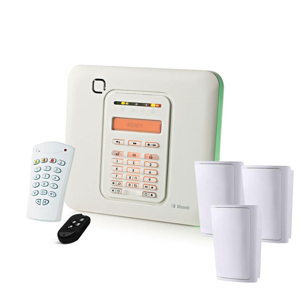 VISONIC-206 | Kit comprenant: 1x panneau de commande VISONIC-79 (PowerMaster-10) avec 30 zones radio, 1x module VISONIC-148 3G (WCDMA-3G PG2), 3x détecteurs PIR numériques VISONIC-8 (MP-802 PG2), 1x via clavier radio VISONIC-9 (KP-140 PG2), 1x télécommande radio VISONIC-6 (KF-234 PG2).