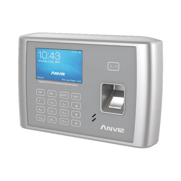 CONAC-717   Terminal de control de acceso y presencia Anviz. Identificación por tarjeta RFID EM 125KHz, huella dactilar, contraseña y combinaciones. 5.000 huellas/tarjetas, 200.000 registros. 1 salida de relé. TCP/IP, USB host, Mini USB, RS232. Incorpora WiFi. 8 estados autodefinidos.