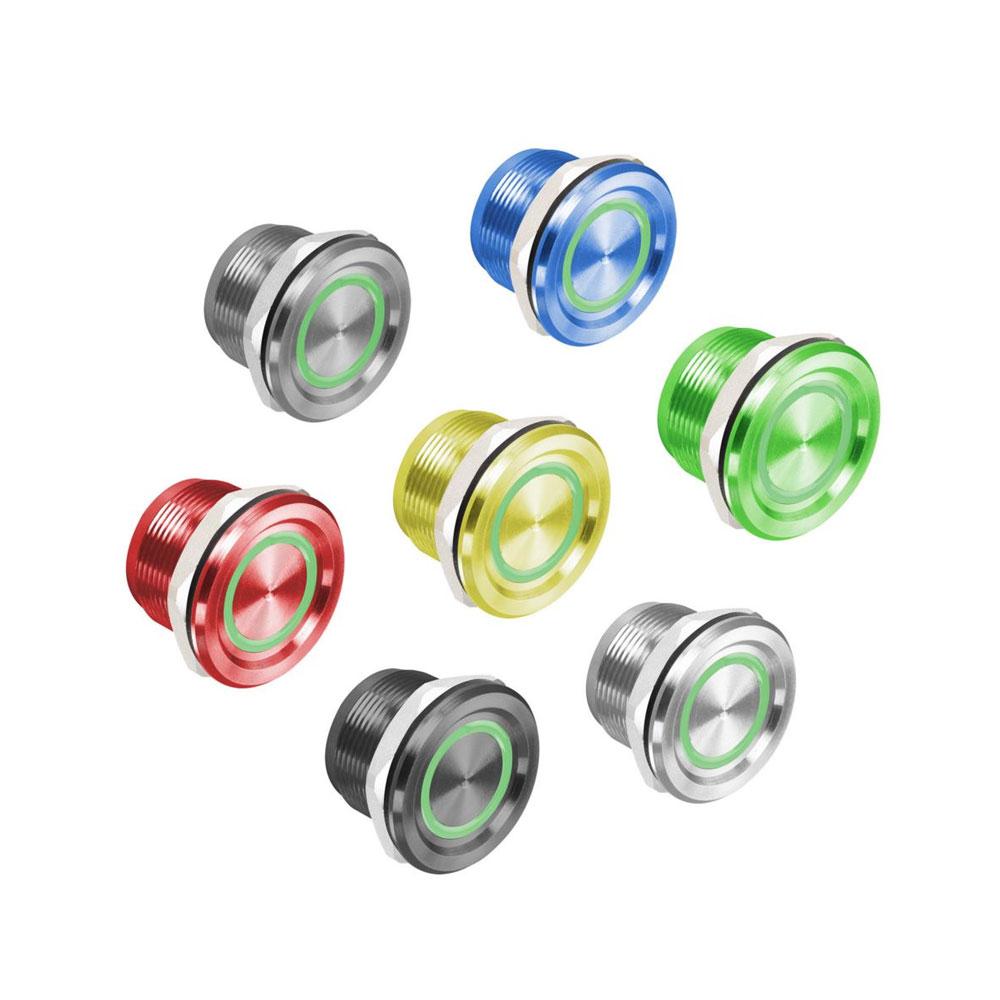 CONAC-725 | Pulsador de botón metálico piezoeléctrico ROSSLARE de iluminación de anillo LED bicolor