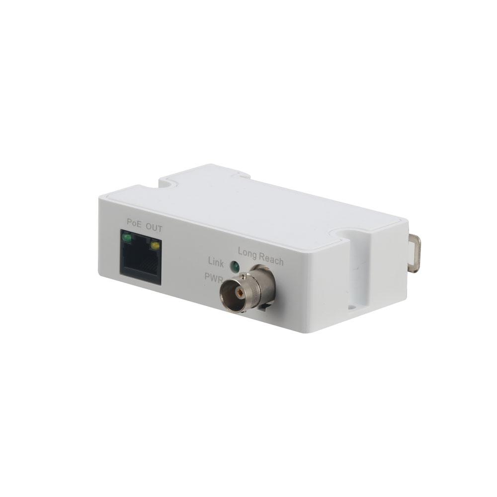 DAHUA-1153 | Convertisseur de RJ45 10/100M à BNC. Émetteur d'1 canal avec transmission d'alimentation à travers du coaxial.Portée à traver du câble coaxial RG59: 400m à 100Mbps, 1Km à 10Mbps.
