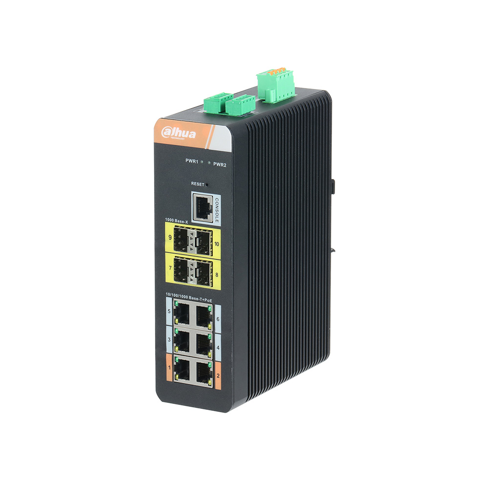 DAHUA-1421 | Switch Industriale gestionabile (L2+) di 6 porte Gigabit Ethernet PoE + 4 porte 1000Base-X SFP