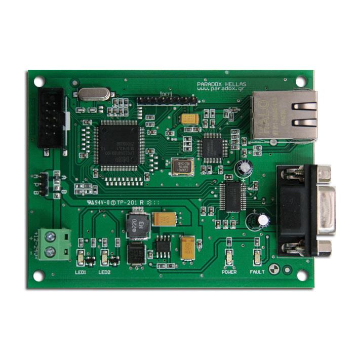 FOC-383 | Tarjeta módulo de comunicación TCP/IP - RS232 para centrales PARADOX HELLAS Fighter