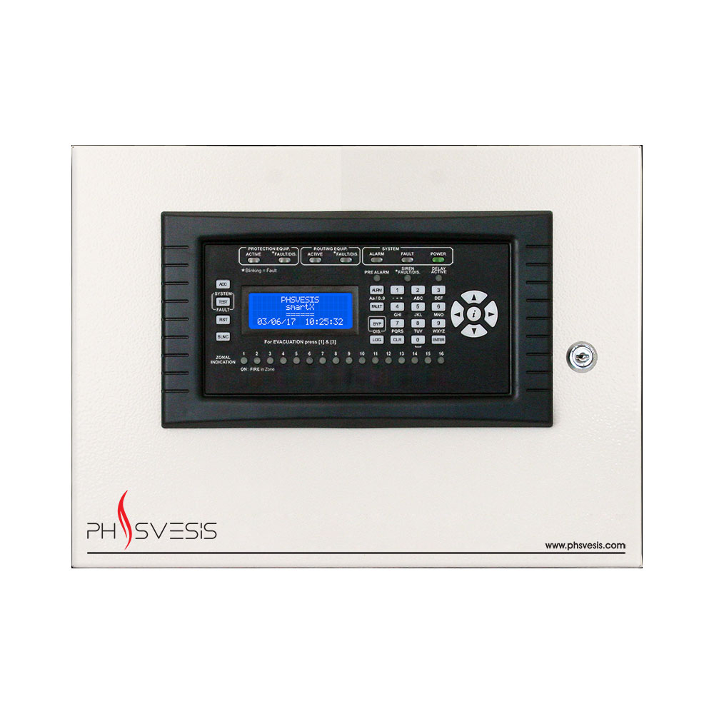 FOC-613 | SmartX single loop, analogue addressable control panel, based on the Hochiki ESP protocol.  2 Conventional Zones (Maximum 20 detectors per zone).  2 Supervised Siren Outputs