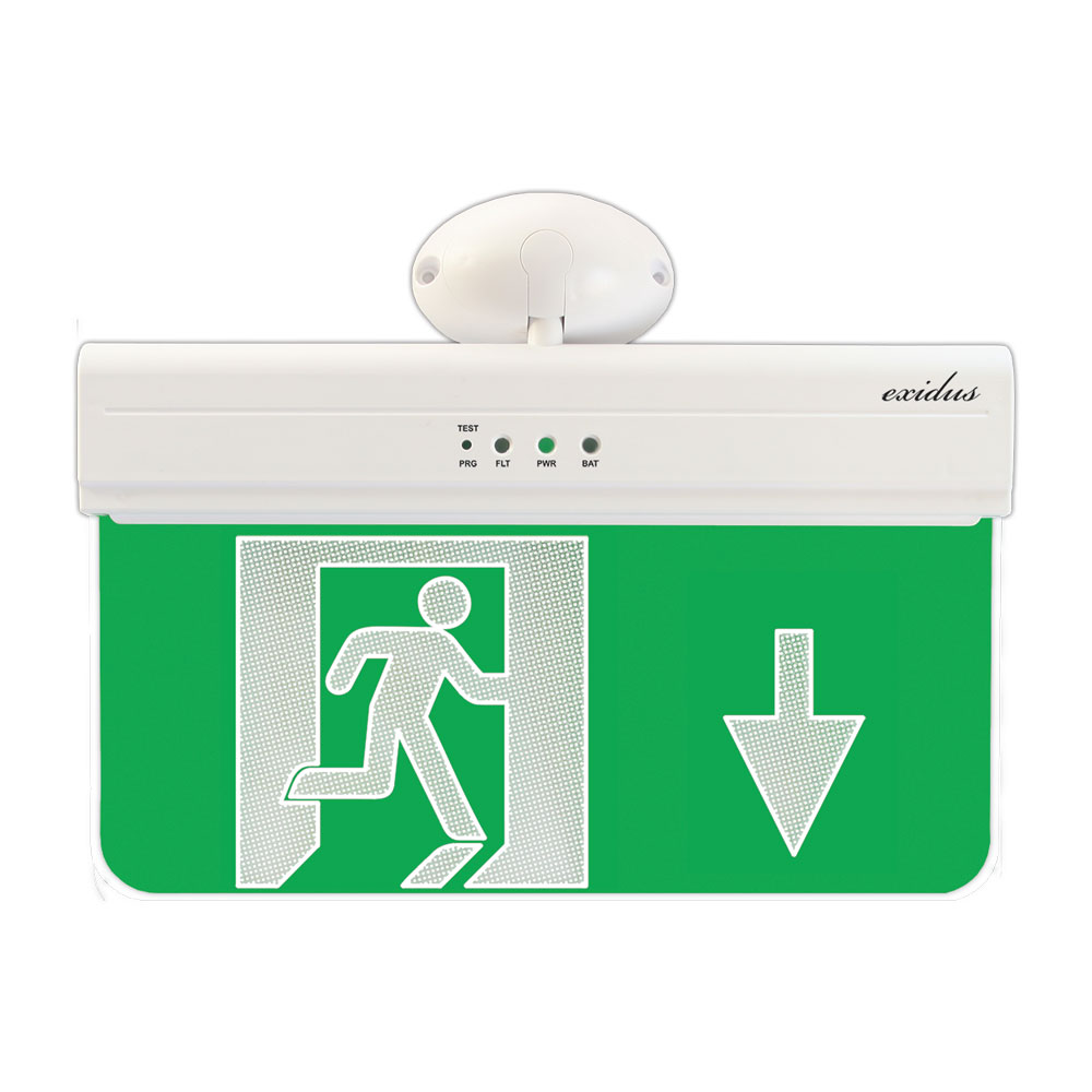 FOC-640 | Segnale di uscita di emergenza per montaggio in soffitti o pareti linea EXIDUS