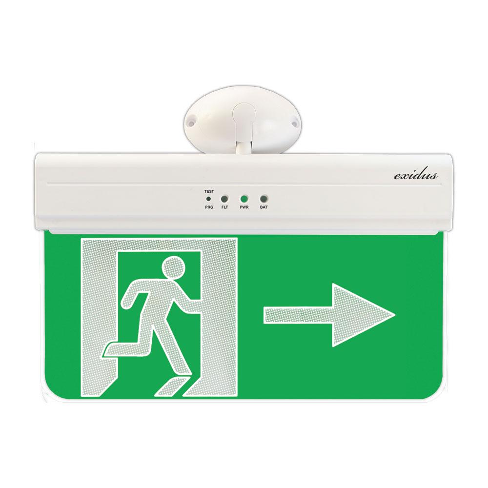 FOC-640R | Segnale di uscita di emergenza verso la destra per montaggio in soffitti o pareti linea EXIDUS