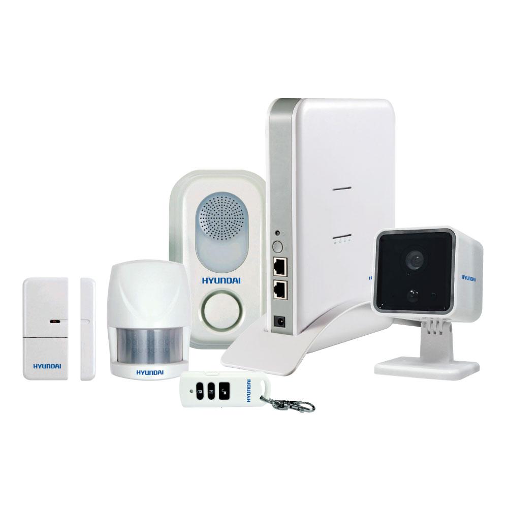 HYU-65 | Kit Smart4Home composé de la station de contrôle IP (il est pas vendu séparément), caméra IP 720P HYU-74, sirène de voix intérieure HYU-69, détecteur PIR volumétrique HYU-66, contact magnétique HYU-67, bouton à distance HYU-68, logiciel Hyundai Smart Home