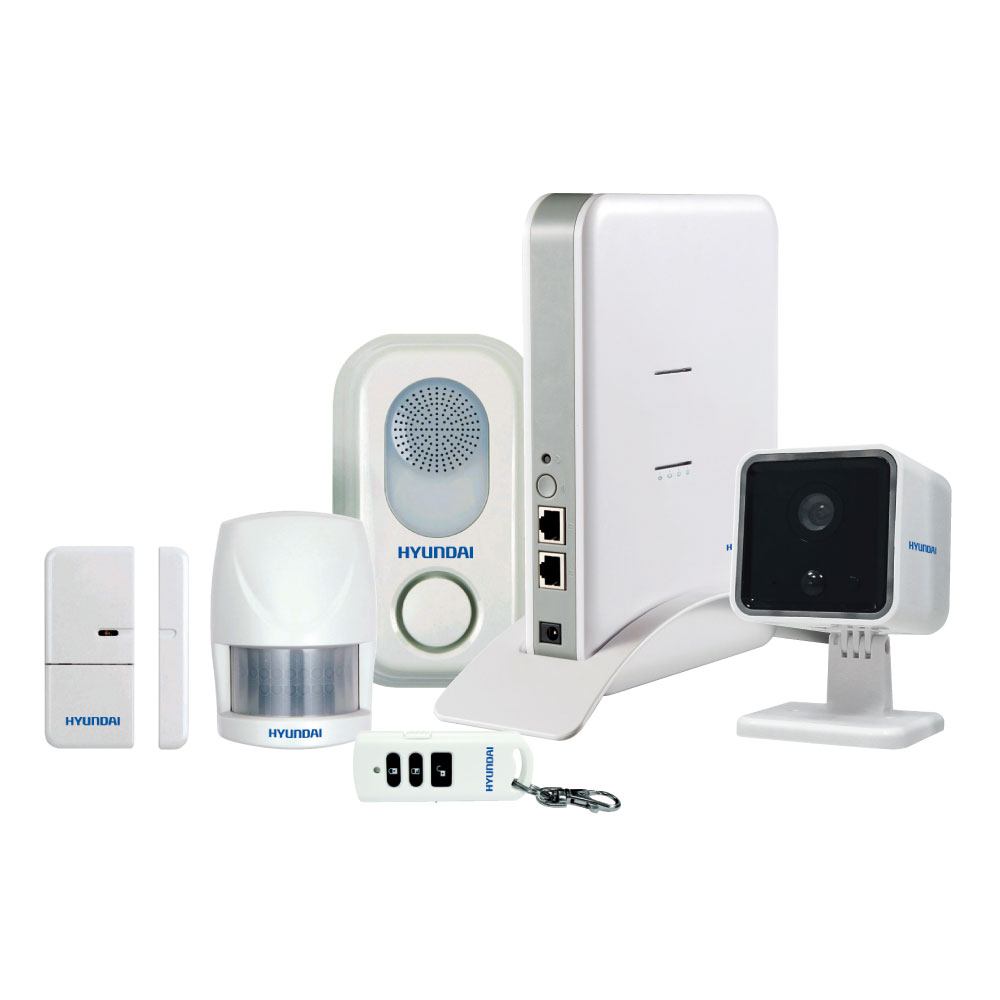 HYU-65 | Kit Smart4Home formato da stazione di controllo IP (non si vende separatamente), camera IP 720P HYU-74, sirena di voce per interni HYU-69, rilevatore PIR volumetrico HYU-66, contatto magnetico HYU-67, pulsante remoto HYU-68, software Hyundai Smart Home