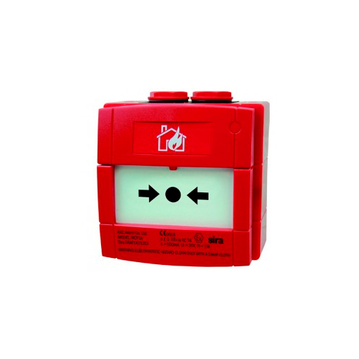 NOTIFIER-344 | Red glass break alarm button with 470 alarm resistance for conventional systems