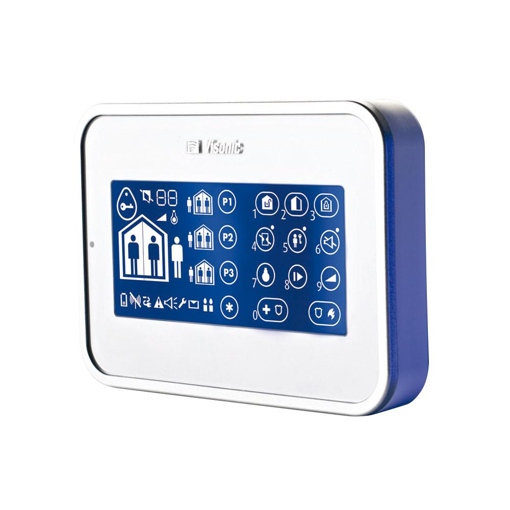 VISONIC-10 | Teclado numérico vía radio bidireccional PowerG con pantalla táctil y lector de proximidad.