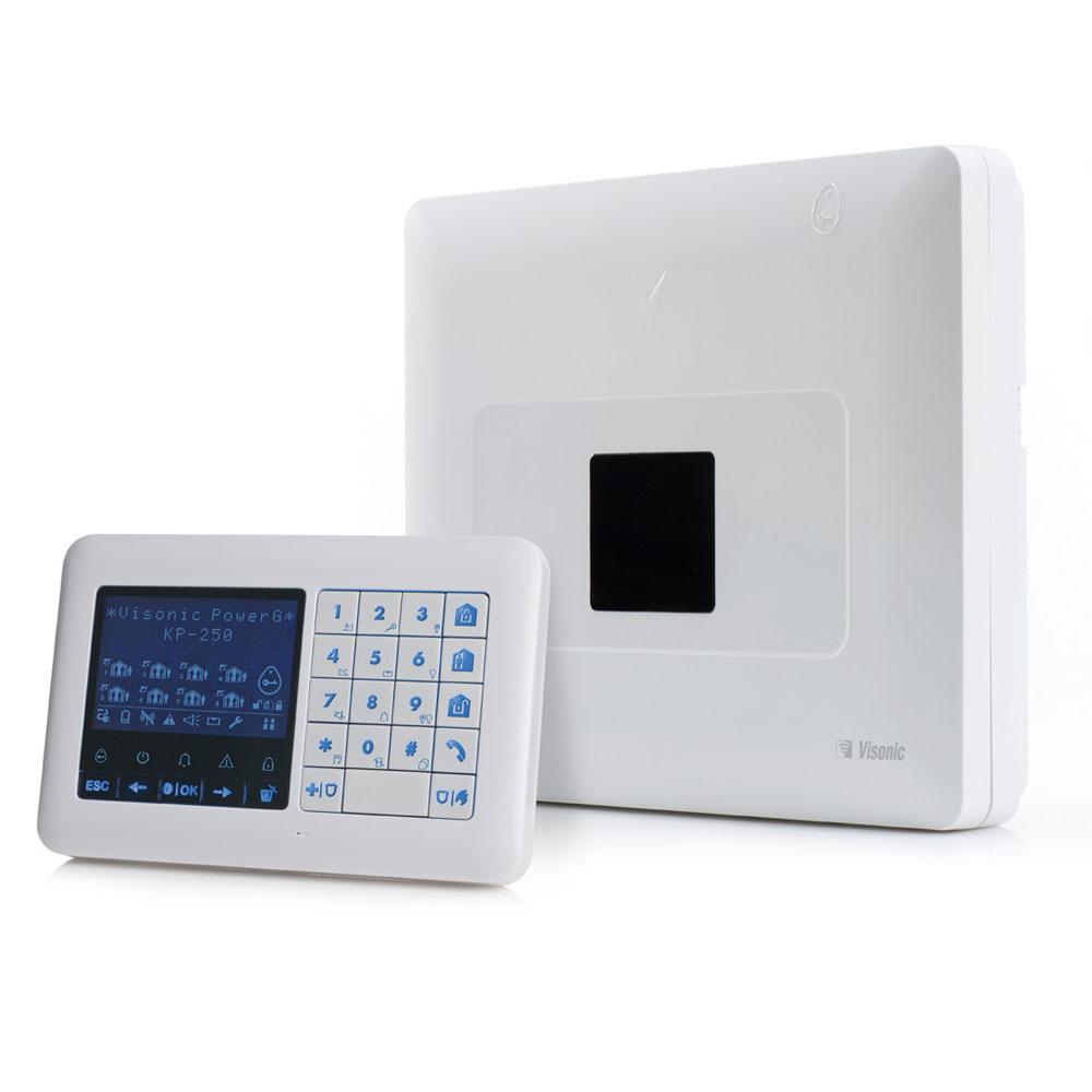 VISONIC-36N | Kit compuesto por: 1x Central VISONIC-18N (PMASTER-33 SP) de 64 zonas, 1x módulo GPRS VISONIC-45 (GSM-350 PG2), 1x Teclado vía radio bidireccional PowerG KP-250 con textos en español.
