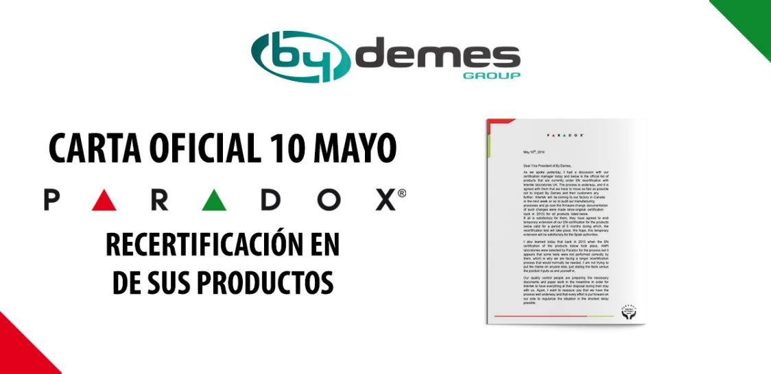 Carta oficial de PARADOX sobre la recertificación EN de sus productos