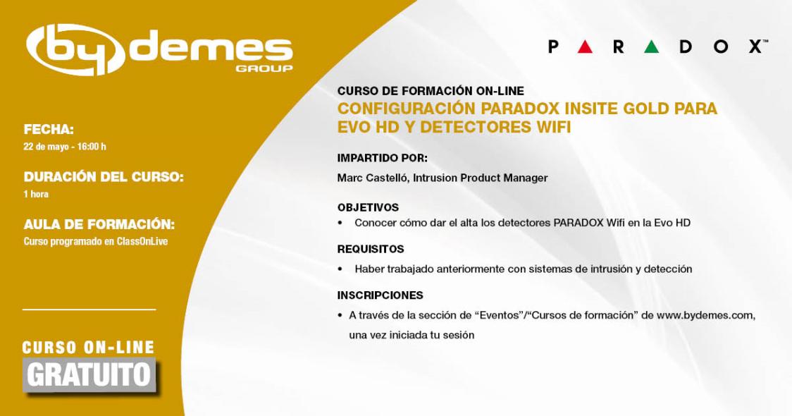 Nuevo curso de formación on-line EXPRESS de configuración de PARADOX INSITE GOLD
