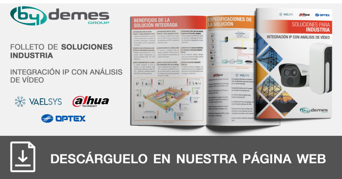 Nuevo folleto de soluciones para industria de integración IP DAHUA y OPTEX con análisis de vídeo VAELSYS en formato pocket