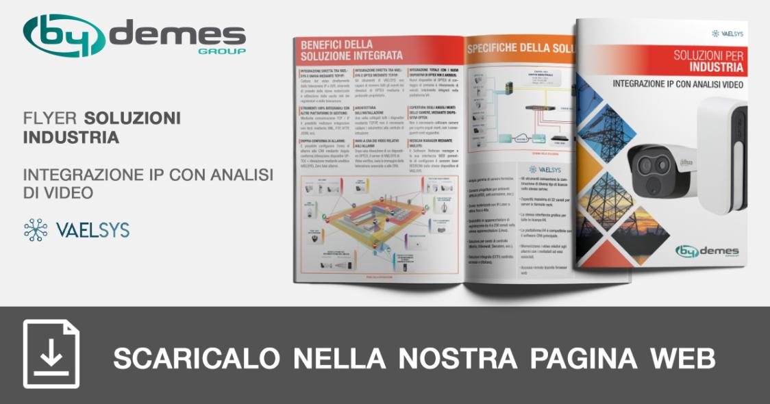 Nuovo flyer di soluzioni industriali di integrazione IP con analisi di video VAELSYS in formato tascabile
