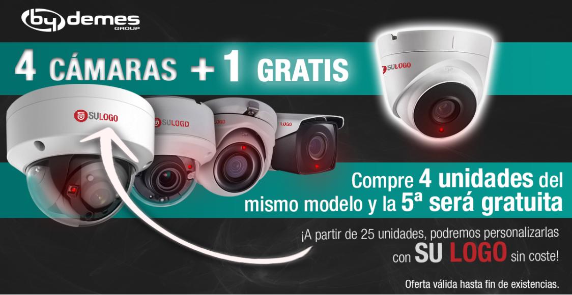 ¡4 cámaras + 1 gratis personalizadas con su logo!