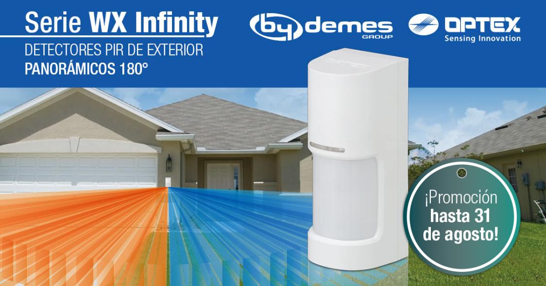 ¡Los detectores de exterior PIR 180º WX Infinity de OPTEX ahora en promoción!