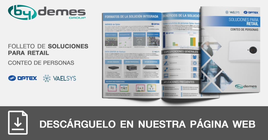 Nuevo folleto de soluciones para retail de conteo de personas OPTEX y VAELSYS en formato pocket