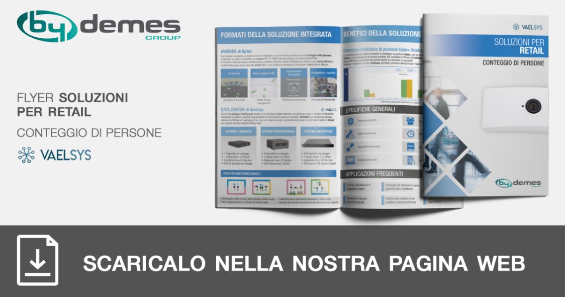 Nuovo flyer di soluzioni per retail di conteggio di persone VAELSYS in formato tascabile