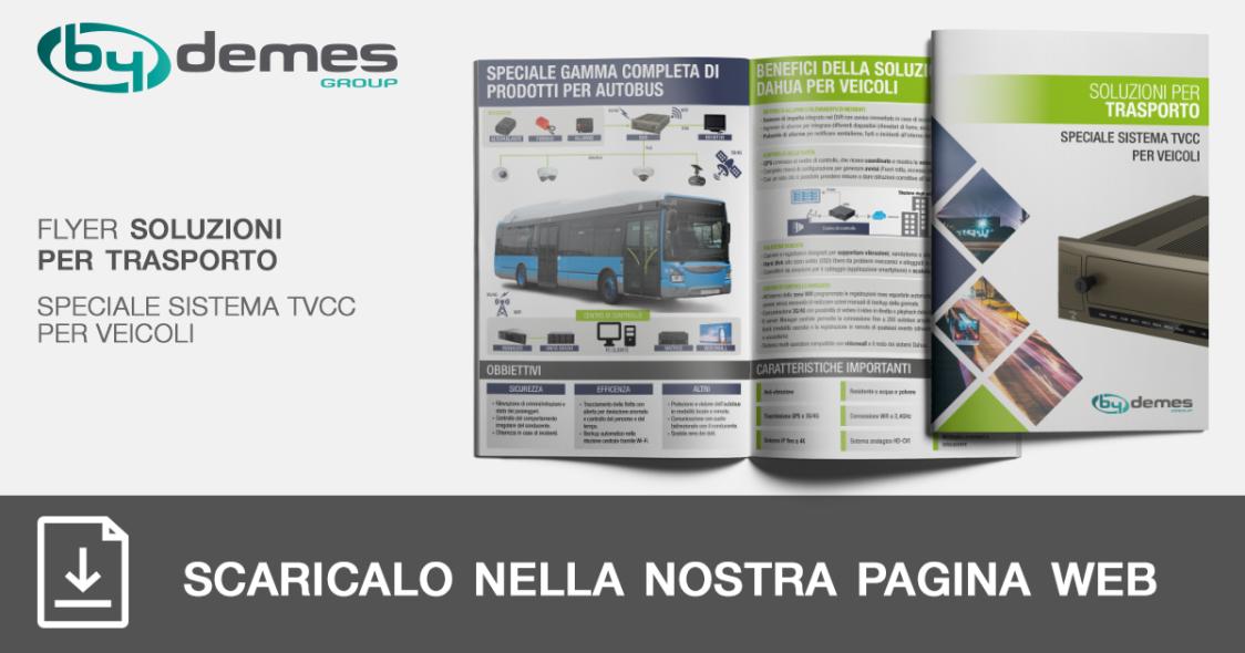 Nuovo flyer di soluzioni per transporto di speciale sistema TVCC per veicoli in formato tascabile
